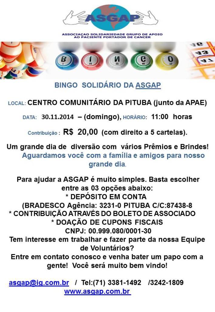 Convite - Bingo ASGAP 2014